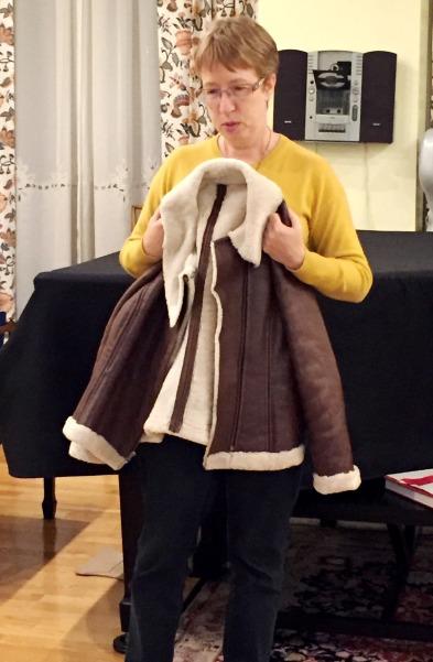Liz showing off her shearling jacket.